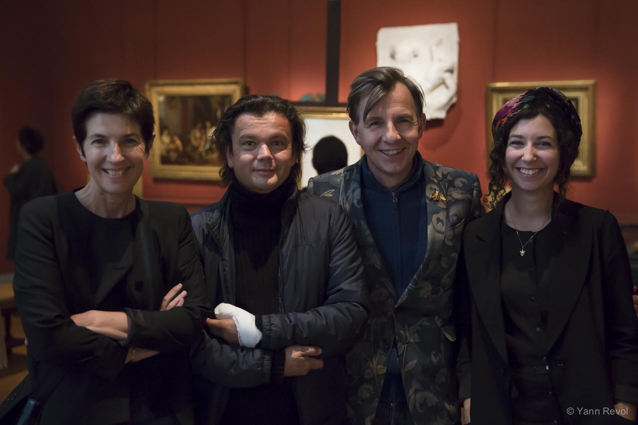 Christine Angot, Jean-Michel Othoniel, Johan Creten et Léonore Chastagner. Photo: Yann Revol