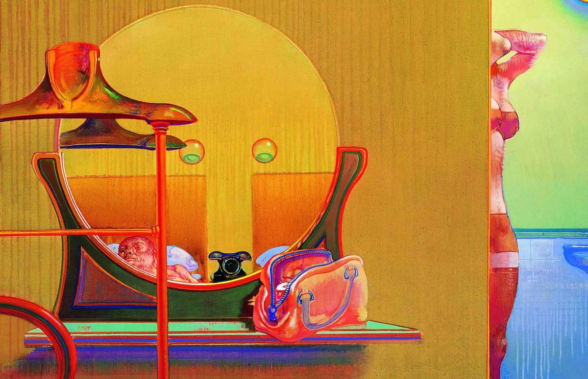 """Détail de """"Les indiscrétions d'une chambre"""", 1970-1971, huile sur toile. Par Leonardo Cremonini."""
