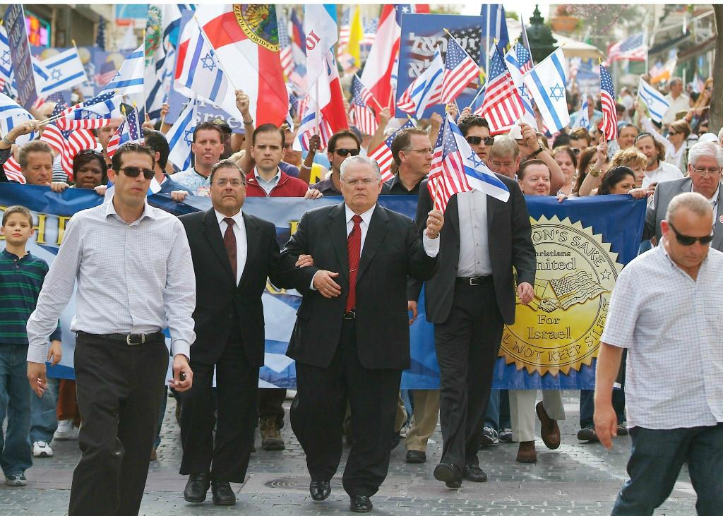 Des évangéliques manifestant à Jérusalem.
