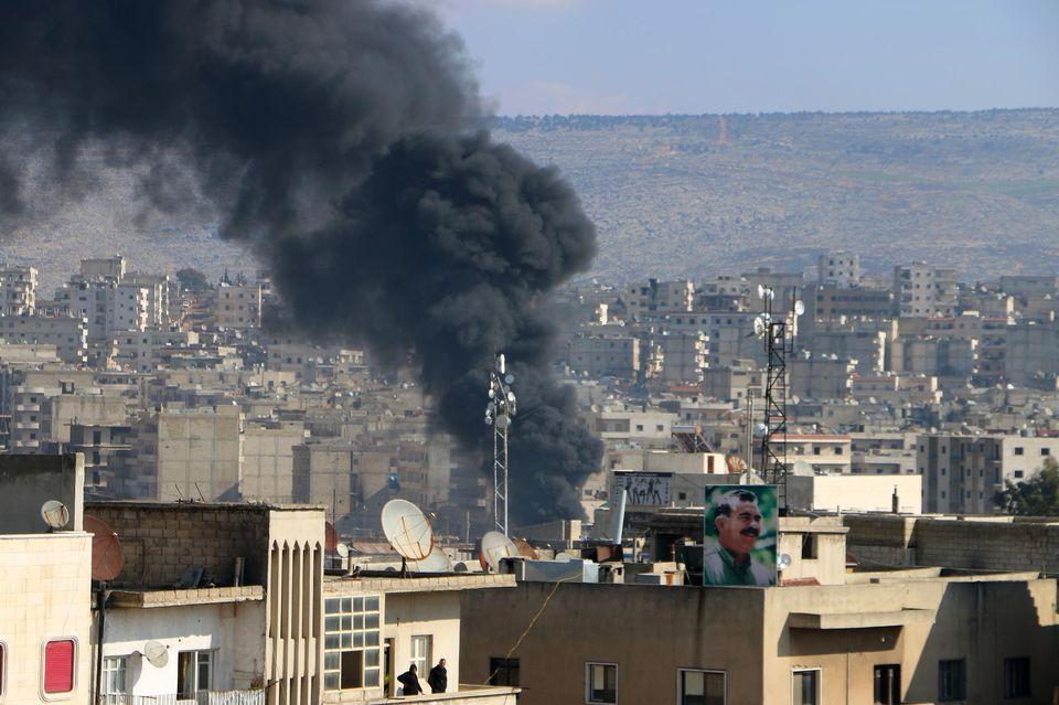 Bombardement dans l'enclave kurde d'Afrin le 31 janvier 2018. AFP