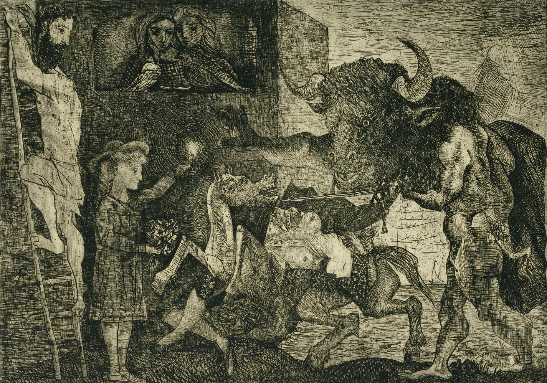 Minotauromachie, eau forte de Pablo Picasso (1935).