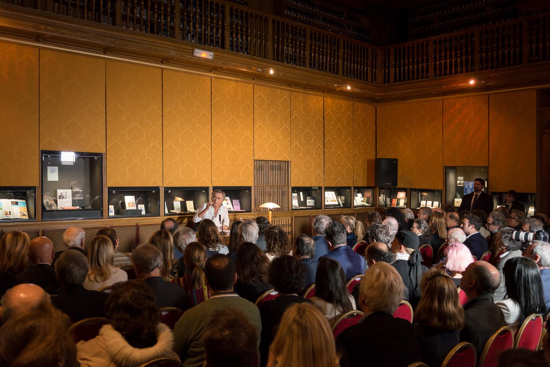 """Lecture de """"L'empire et les cinq rois"""" par Bernard-Henri Lévy. Paris, Bibliothèque de l'Arsenal le 13 mars 2018. Photo : Christophe Caudroy"""