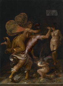 Camillo Mantovano, L'Amour châtié (Mars qui fustige l'Amour, retenu par une furie), fin du XVIe siècle, huile sur panneau, 43 x 34 cm, galerie Canesso.