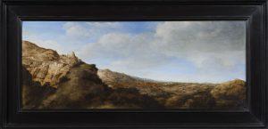 Hercules Segers, Paysage montagneux, 1625-1630, huile sur panneau, 25,4 x 64,4 cm, galerie Dickinson.
