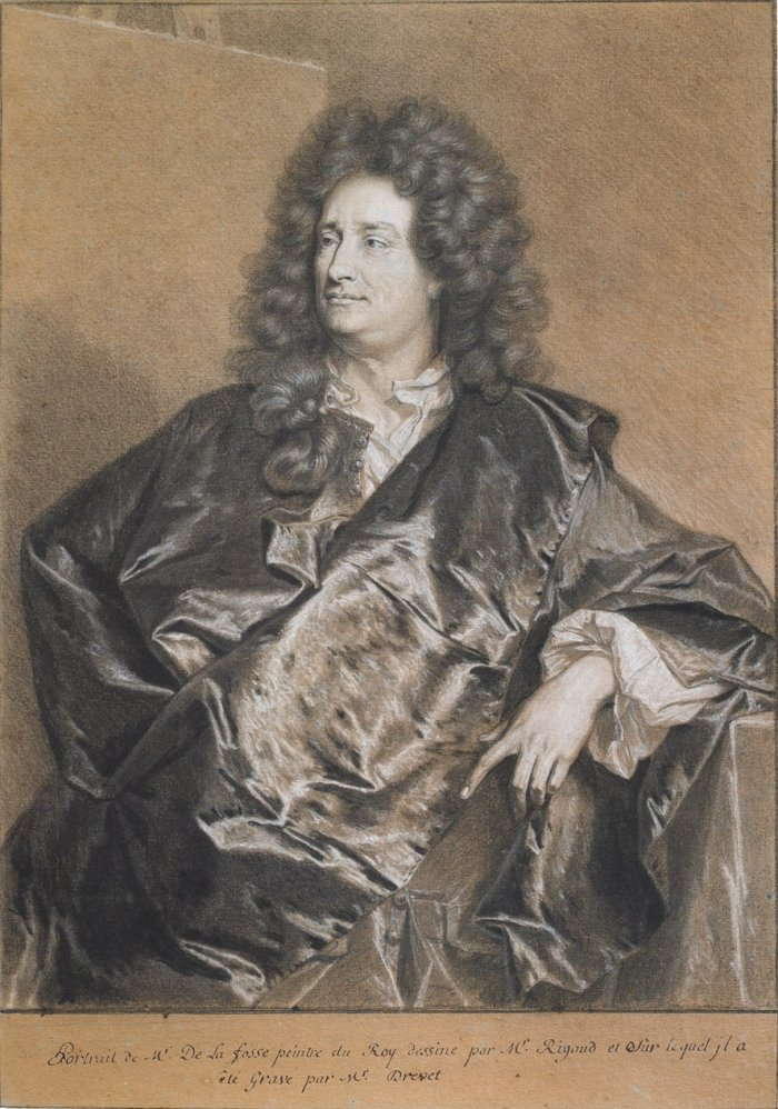 Hyacinthe Rigaud, Portrait de Charles de La Fosse, pierre noire, plume et encre brune, rehauts de gouache et de craie, galerie Eric Coatalem