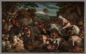 Jacopo Bassano, les israélites recueillant de l'eau dans les rochers, vers 1569, huile sur toile, 100 x 152,5 cm, Galerie Gallo.