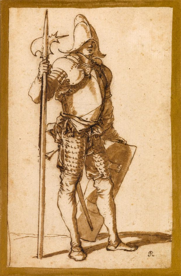 Salvator Rosa, Un hallebardier, vers 1656-1657, galerie Stephen Ongpin.