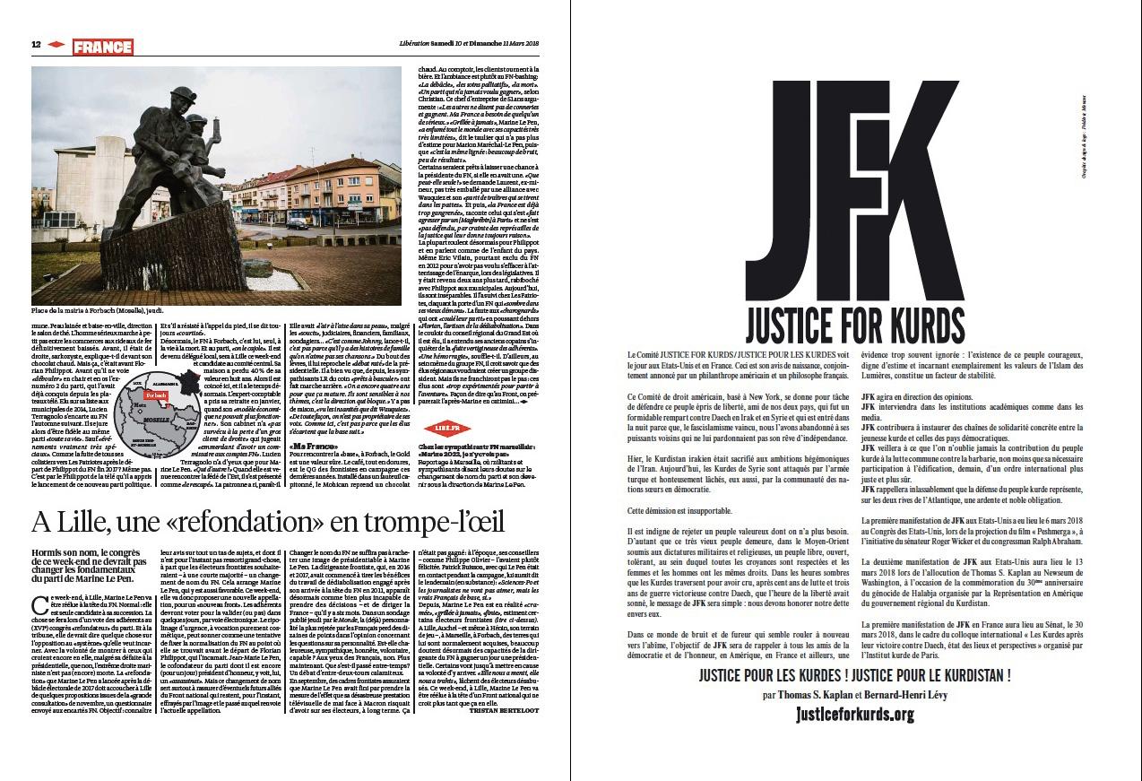 """Texte qui annonce la création de """"Justice for Kurds"""" dans Libération."""