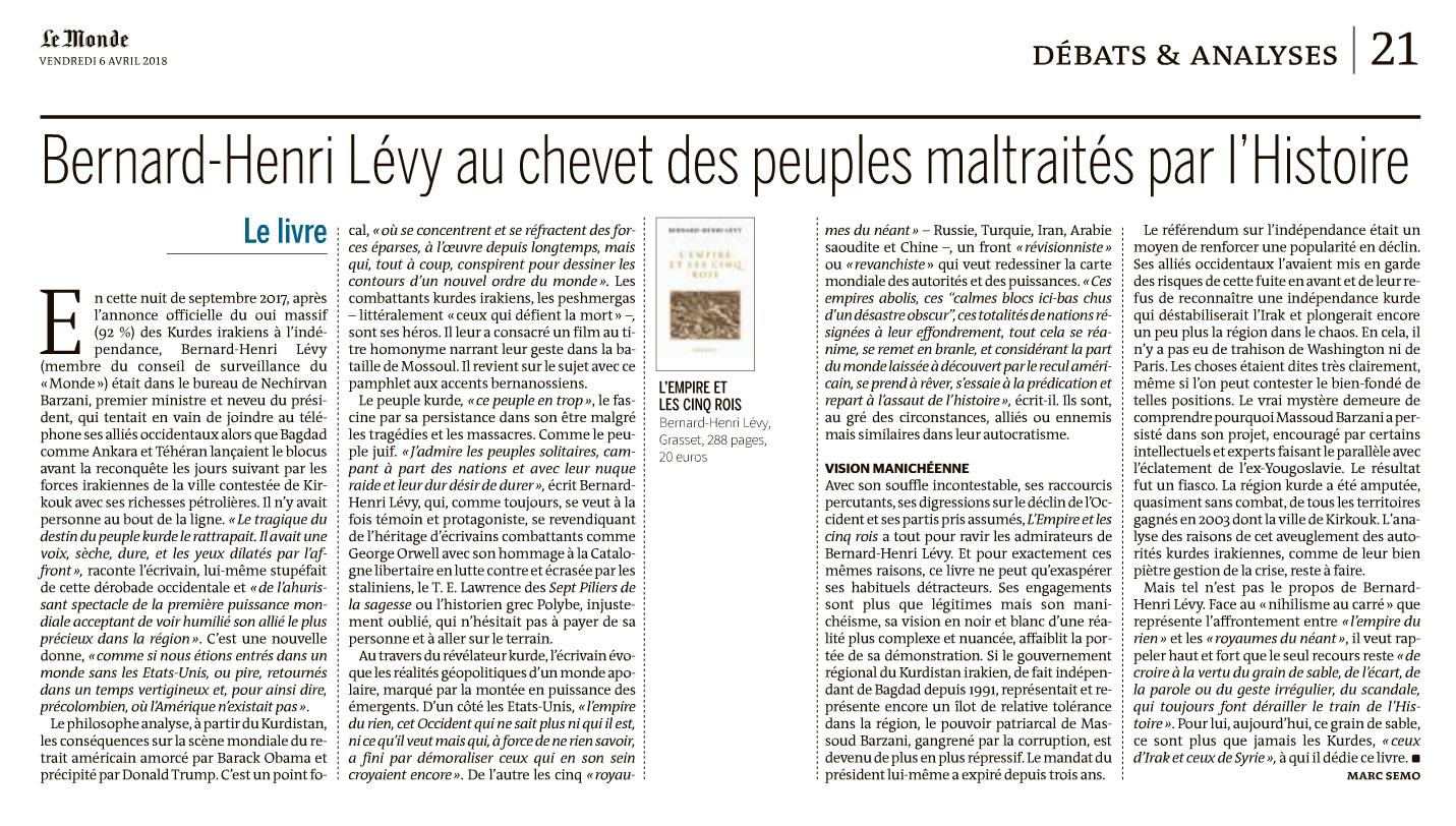 La critique de Marc Semo pour Le Monde de «L'Empire et les cinq rois» de Bernard-Henri Lévy.