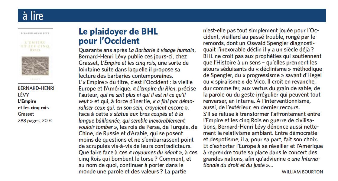 La critique parue dans le quotidien Le Soir.