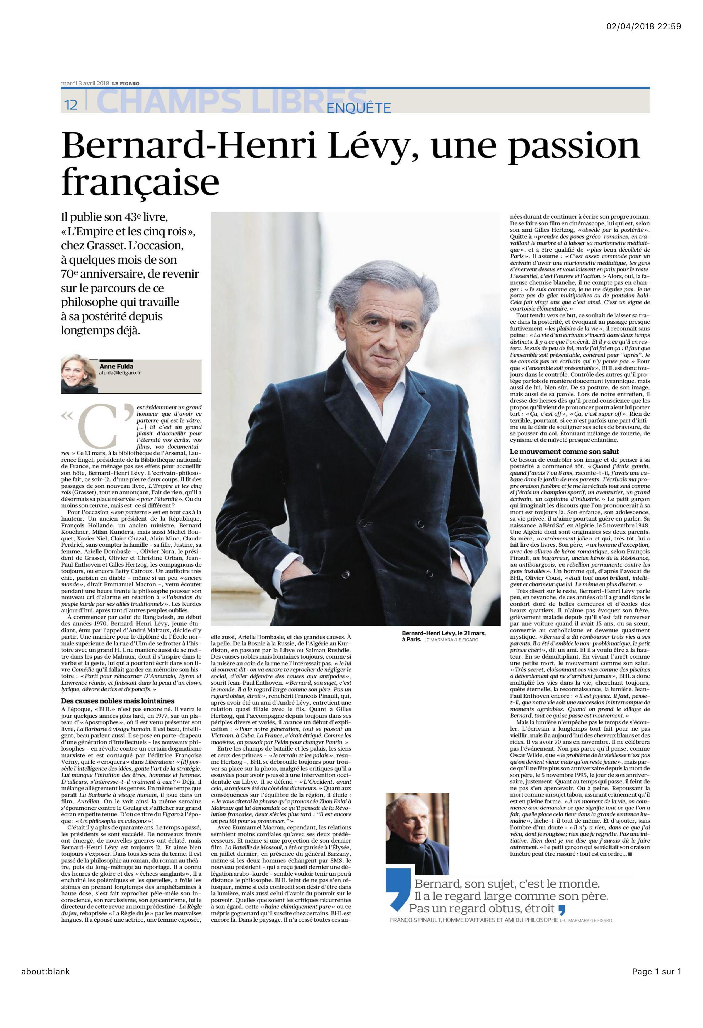L'article sur «L'Empire et les cinq rois» de Bernard-Henri Lévy par Anne Fulda paru dans Le Figaro.