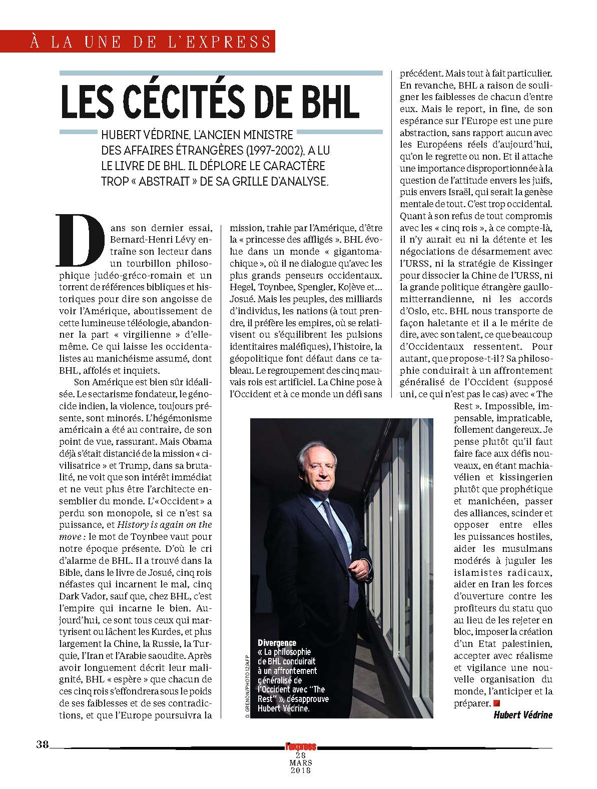 La critique de «L'Empire et les cinq rois» de Bernard-Henri Lévy par Hubert Védrine.