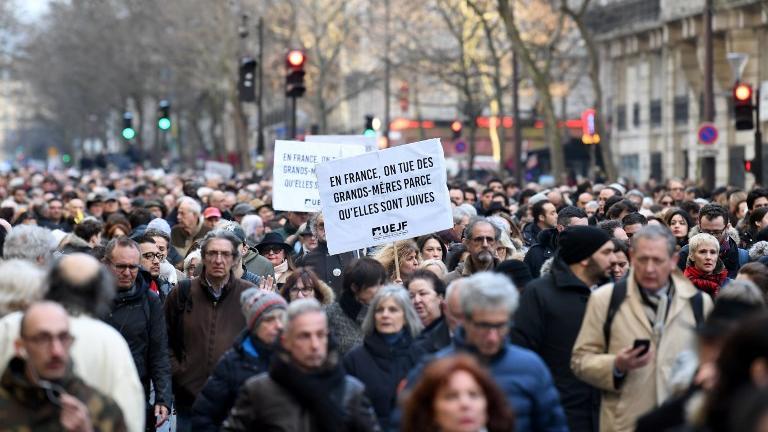 Marche blanche pour Mireille Knoll le 28 mars 2018 à Paris.