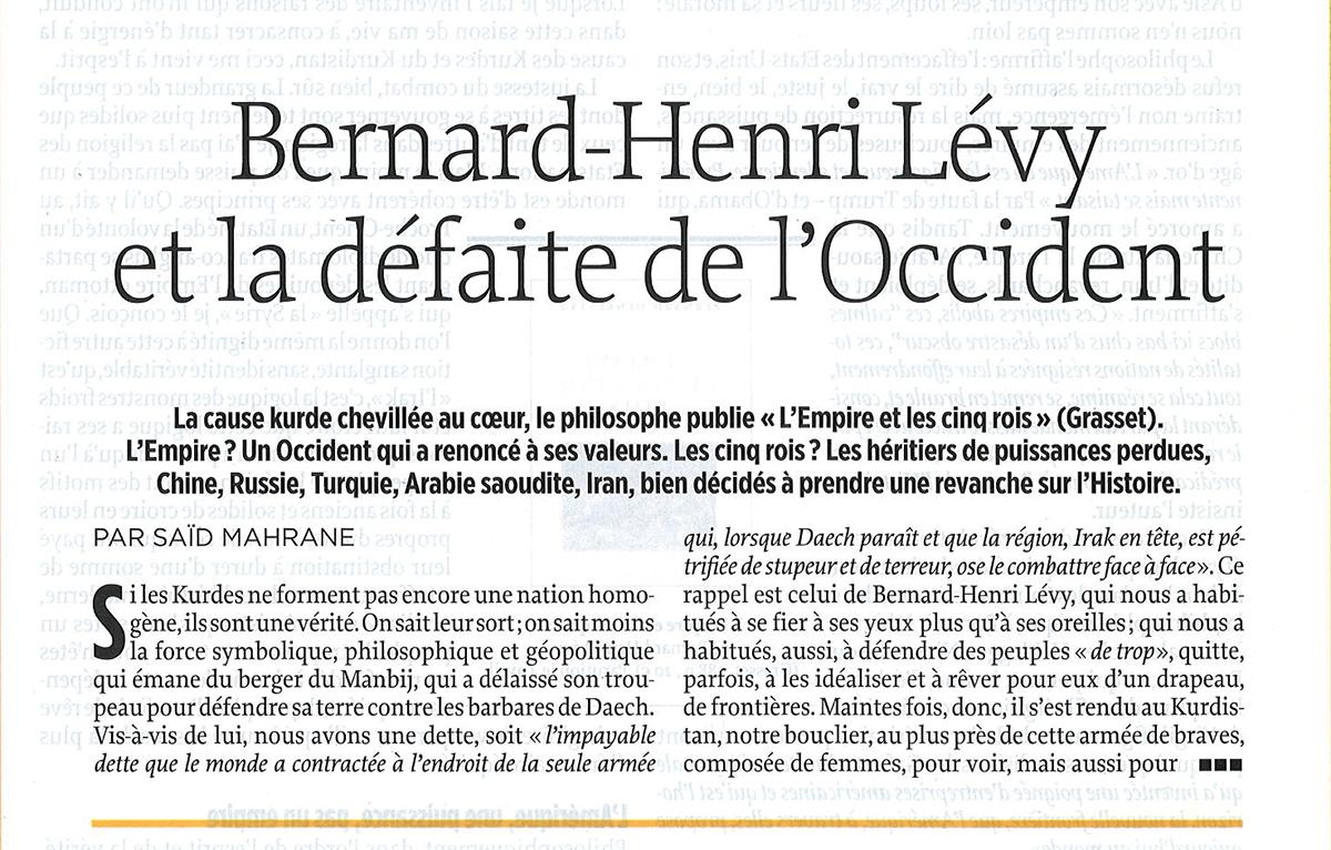 L'article de Saïd Mahrane sur «L'empire et les cinq rois» de Bernard-Henri Lévy paru dans Le Point.