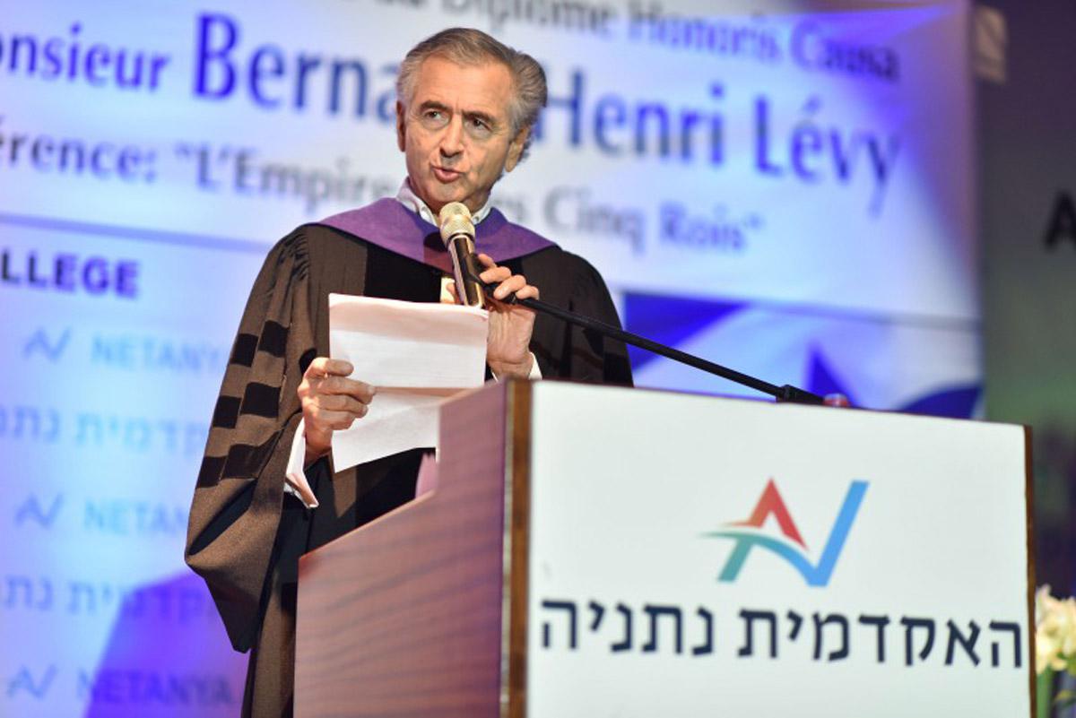 Bernard-Henri Lévy le 17 juin 2018, lors de la remise de son titre de Docteur Honoris Causa du Collège Académique de Netanya, en Israel.