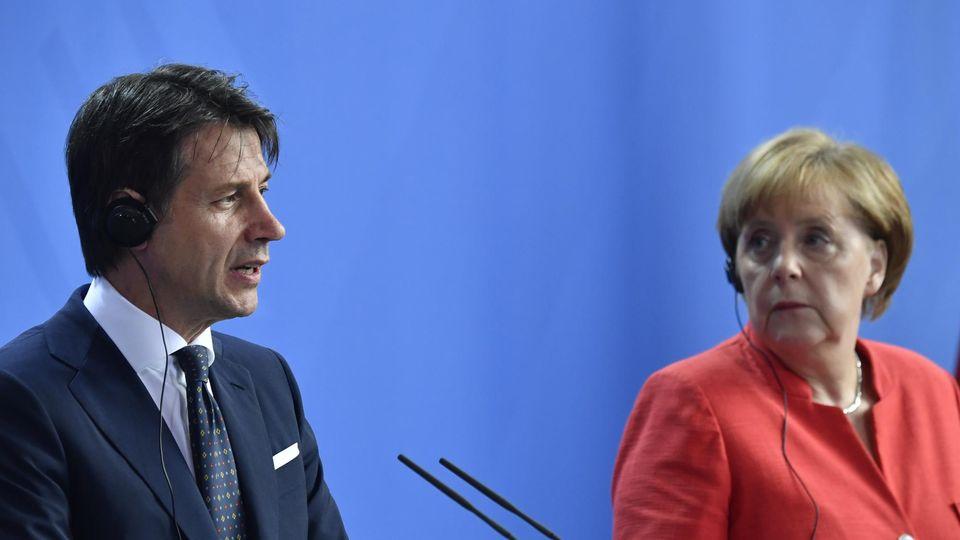 Le Premier ministre italien Giuseppe Conte et la chancelière allemande Angela Merkel, le 18 juin à Berlin.