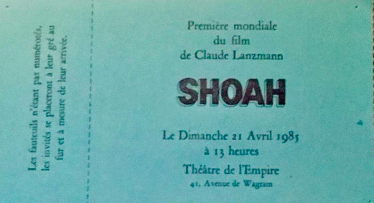 Ticket de la première mondiale de «Shoah» de Claude Lanzmann, le 21 avril 1985.