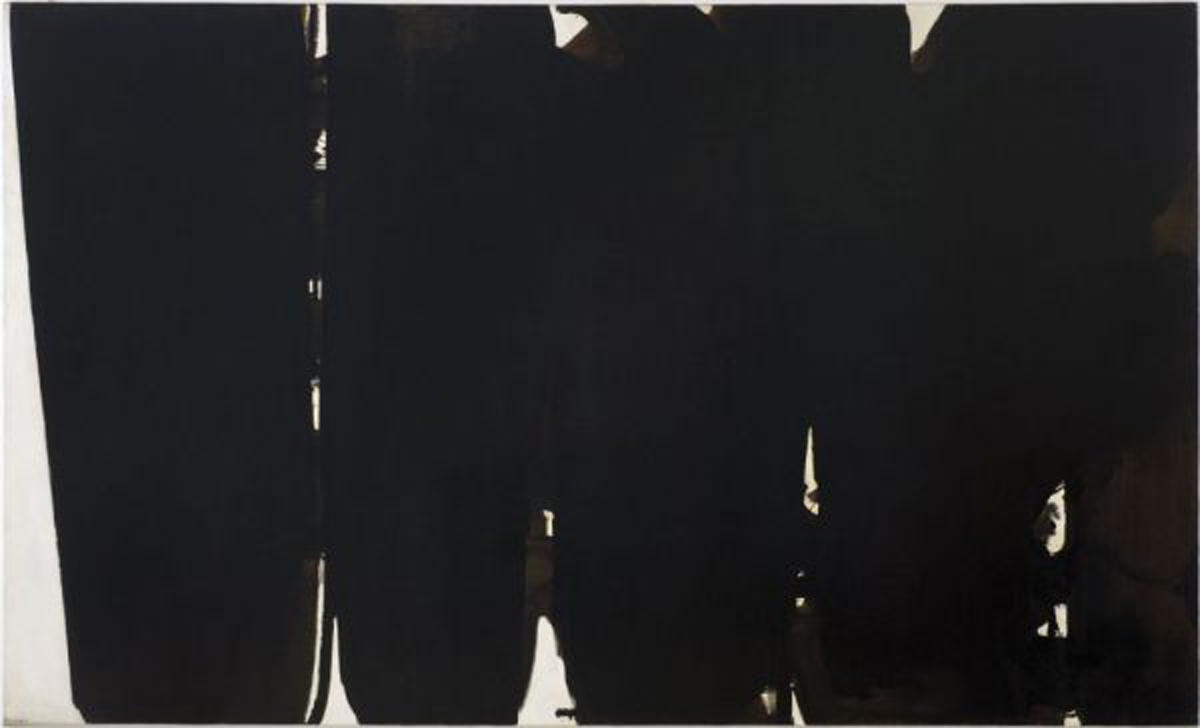 Pierre Soulages. Peinture 220 × 366, 14 mai 1968 Huile et peinture acrylique sur toile Collection Centre Pompidou, Paris. Musée national d'art moderne. Centre de création industrielle.