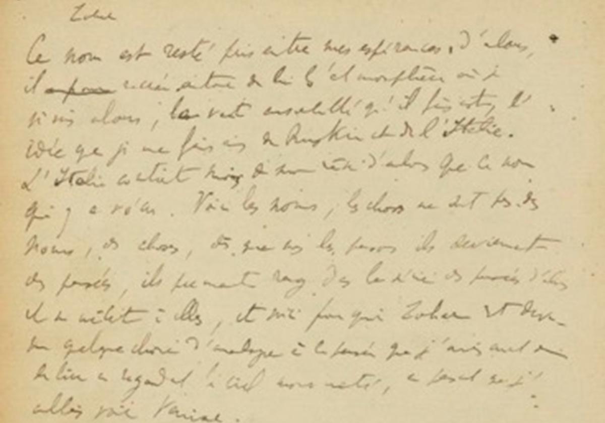 Marcel Proust, A la recherche du temps perdu, cahier 5 du manuscrit, folio 53, verso.