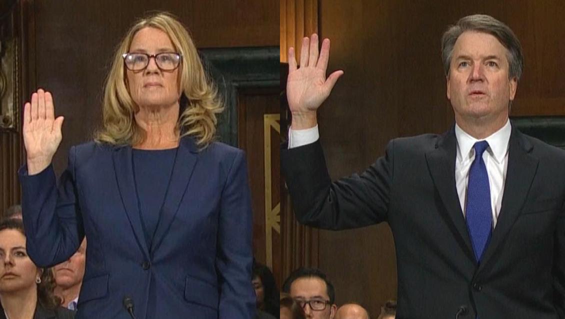 Christine Blasey Ford et le juge Brett Kavanaugh lors de la double audition, devant la Commission judiciaire du Sénat américain.