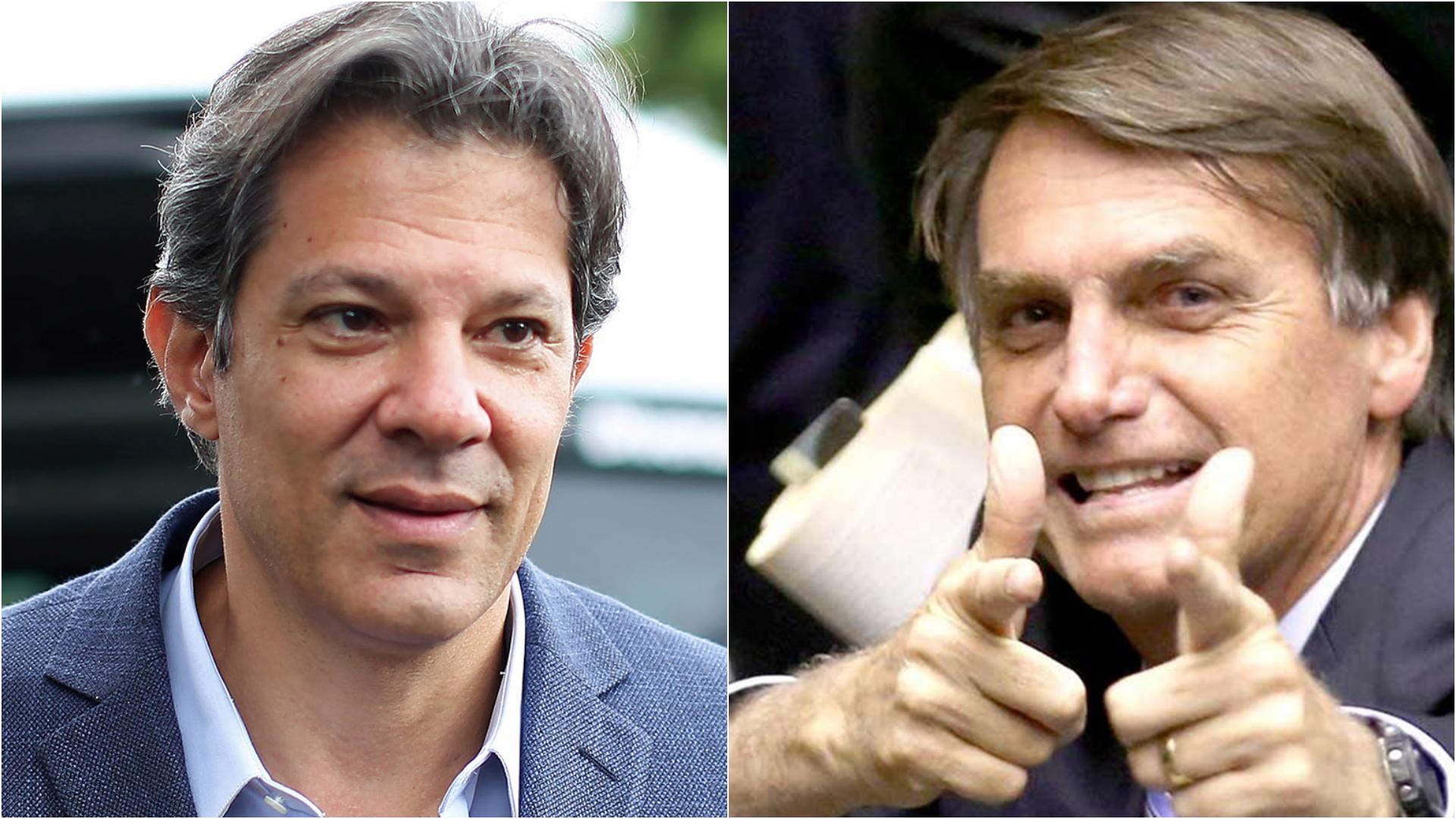 Fernando Haddad, le candidat du Parti des travailleurs (PT), et Jair Bolsonaro, le candidat du Parti Social-Libéral (PSL).