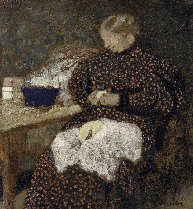 Edouard Vuillard, Madame Vuillard épluchant des légumes, vers 1895.
