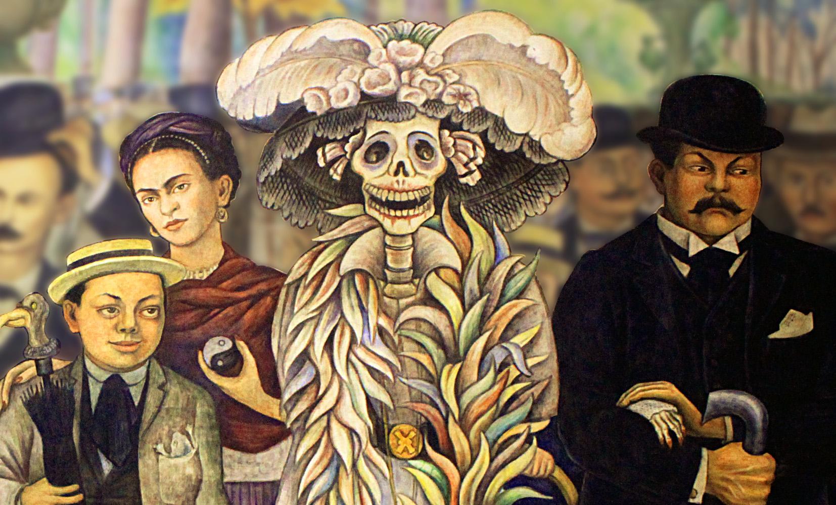 Détail d'une fresque de Diego Rivera, Songe d'un Après-Midi dominal dans l'Alameda central (1947)
