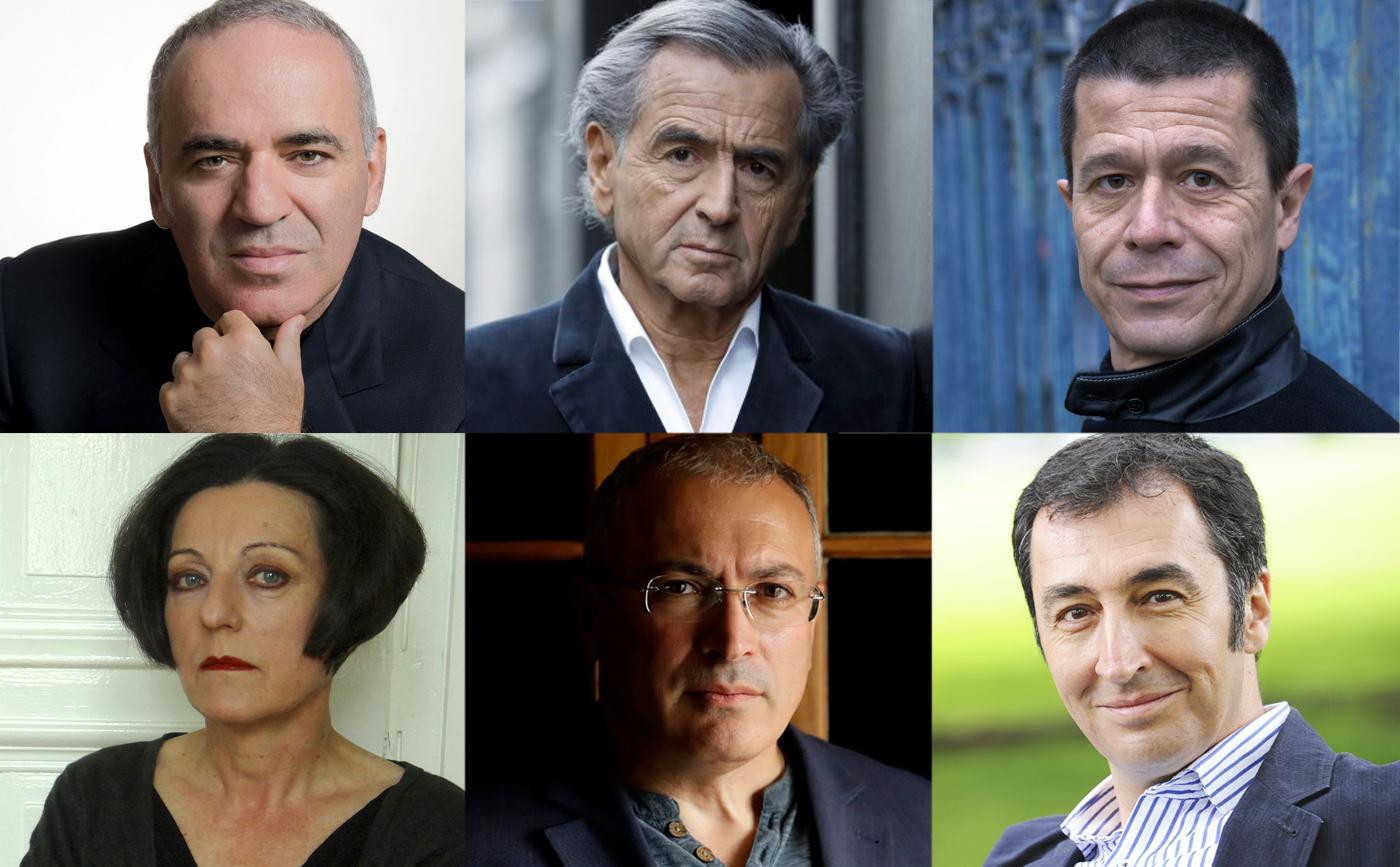 Garry Kasparov, Bernard-Henri Lévy, Emmanuel Carrère, Herta Müller,Mikhail Khodorkovsky,Cem Özdemir figurent parmi les signataires de la Lettre ouverte contre le répression en Russie.