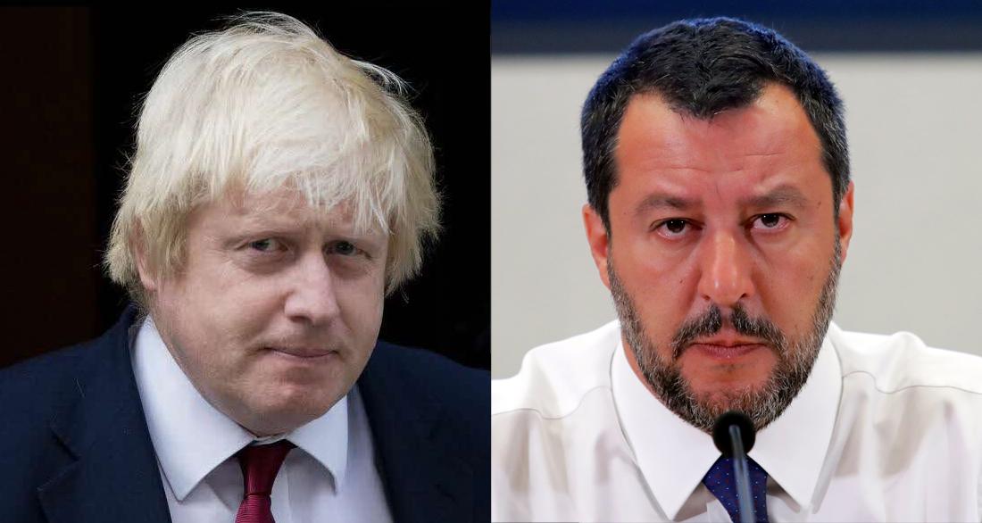 Matteo Salvini et Boris Johnson.
