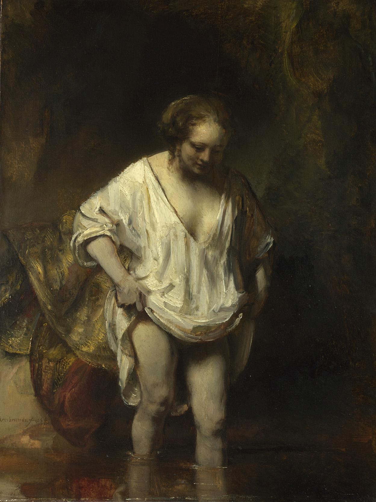 Femme se baignant dans une rivière, clair-obscur intime de Rembrandt (1654).