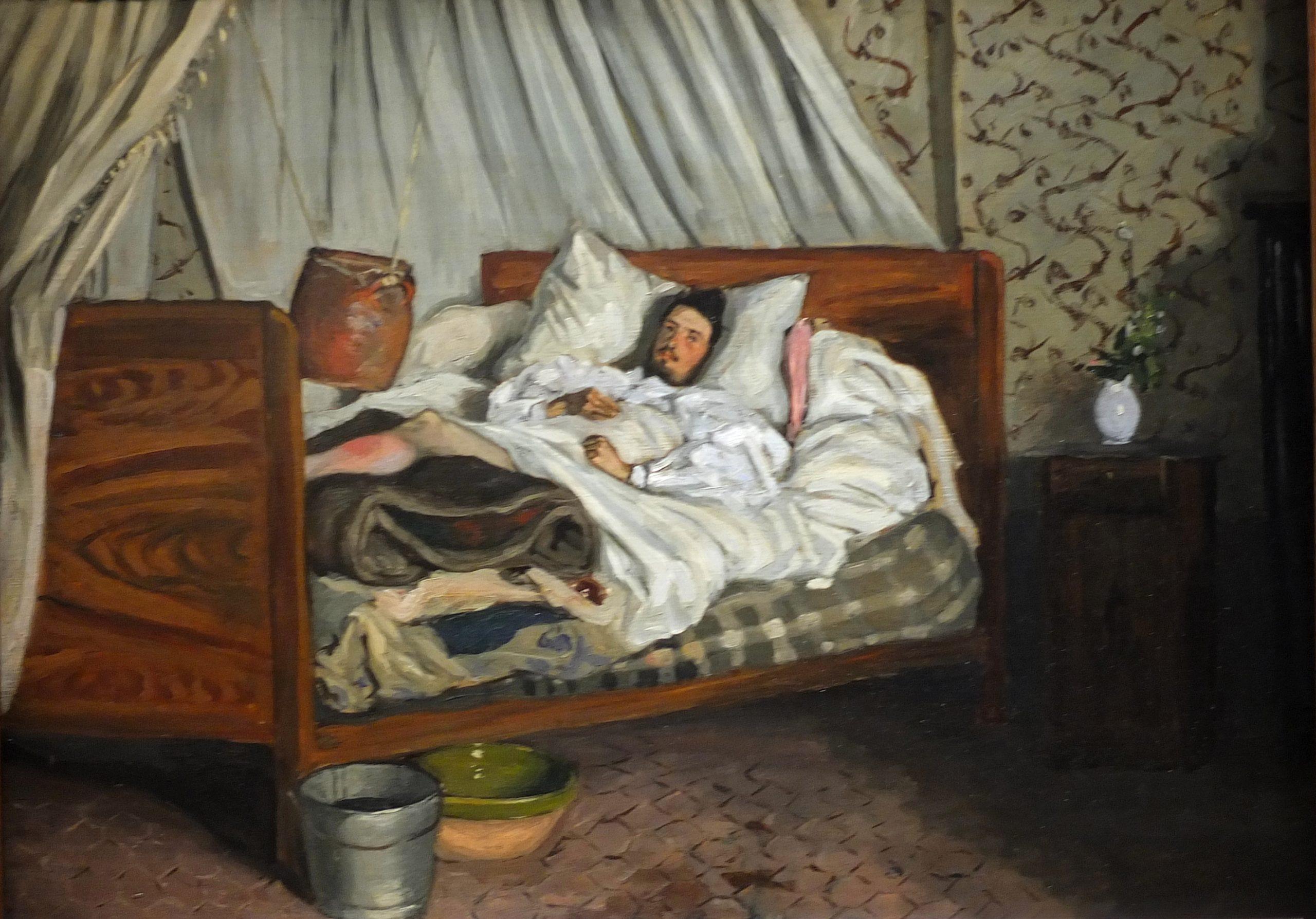 Peinture de Monet blessé à l'hôtel du Lion d'Or à Chailly-en-Bière en 1865.