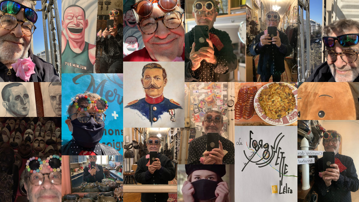 Selfies de l'écrivain Fernando Arrabal, lors du confinement suite à la crise sanitaire due au Covid-19.