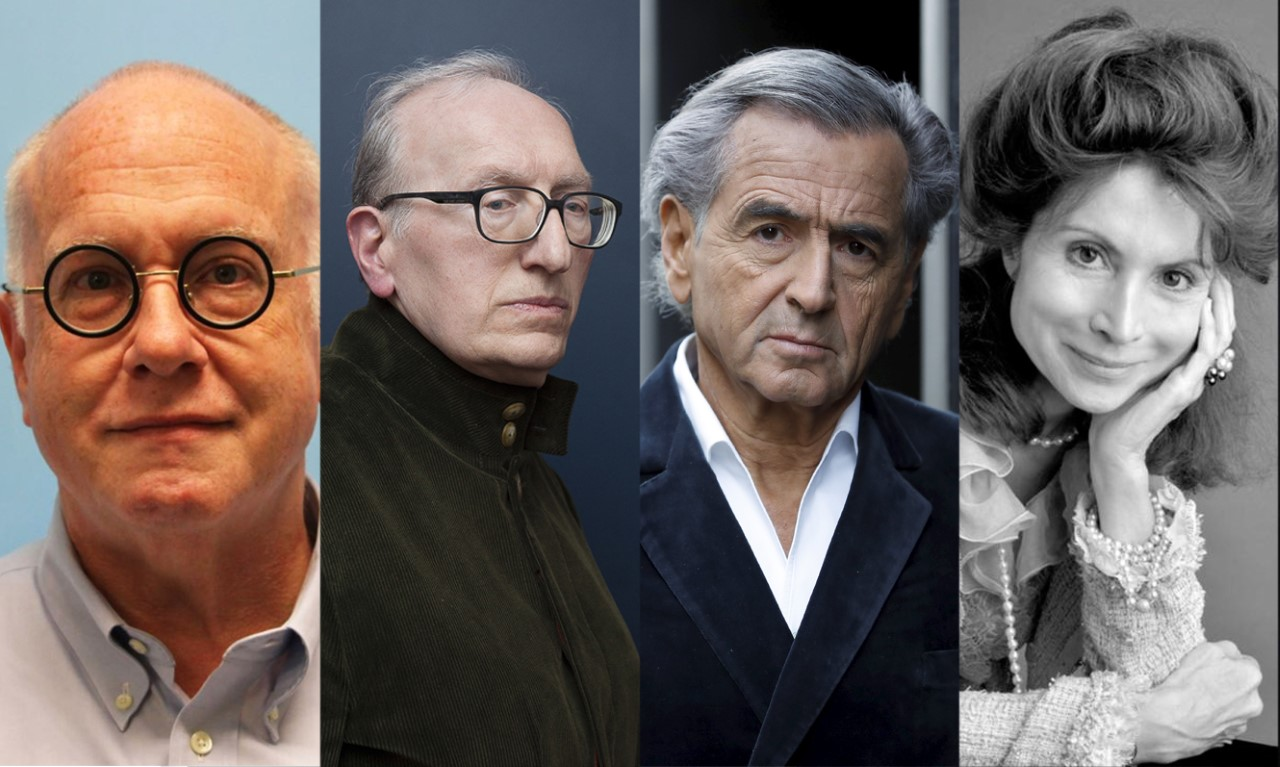 Portraits des intellectuels Mike Godwin, Jean-Claude Milner, Bernard-Henri Lévy et Monique Canto Sperber..