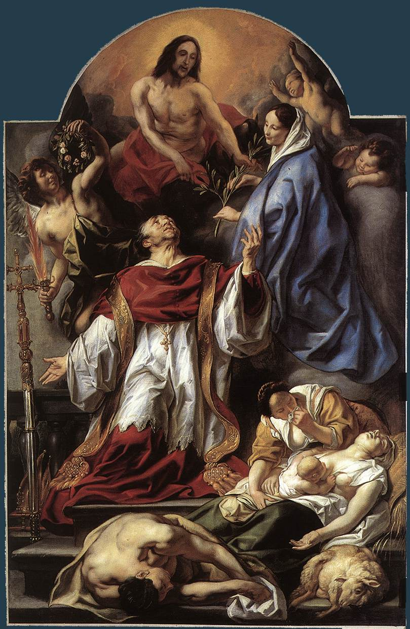 Jacob Jordaens, Saint Charles Borromée portant assistance aux pestiférés de Milan, 1655, Anvers, église Sainte-Jacques.