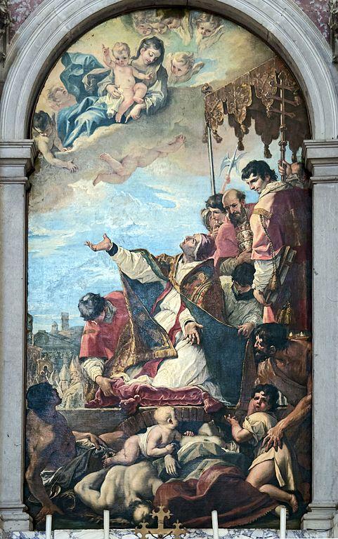 Sebastiano Ricci, Le pape saint Grégoire Ier invoque la Vierge pour la fin de la peste à Rome, 1700, Padoue, basilique Santa Giustina.