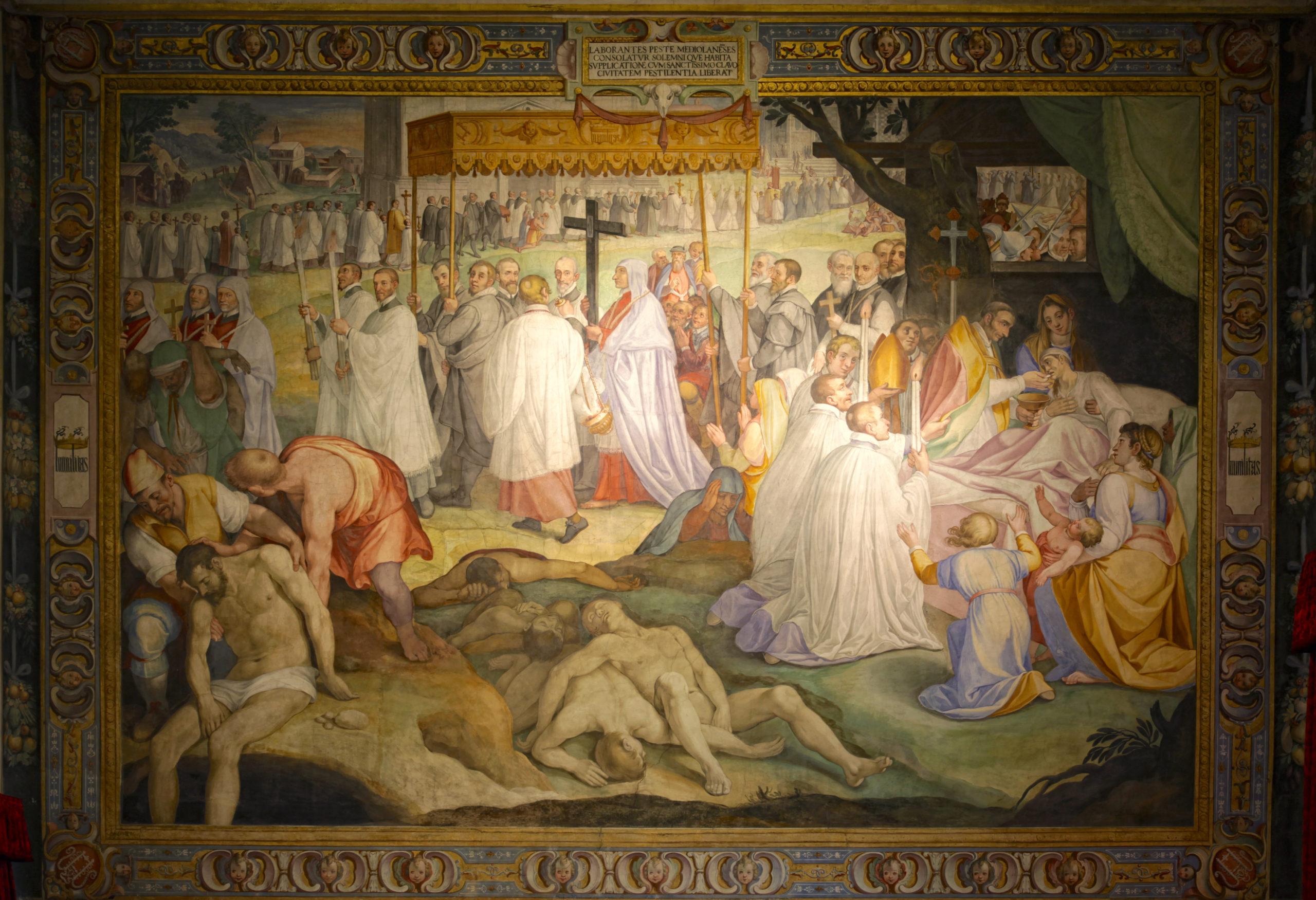 Cesare Nebbia, Charles Borromée durant la Peste de Milan de 1576, 1603-1604, fresque, Pavia, Collège Borromée.