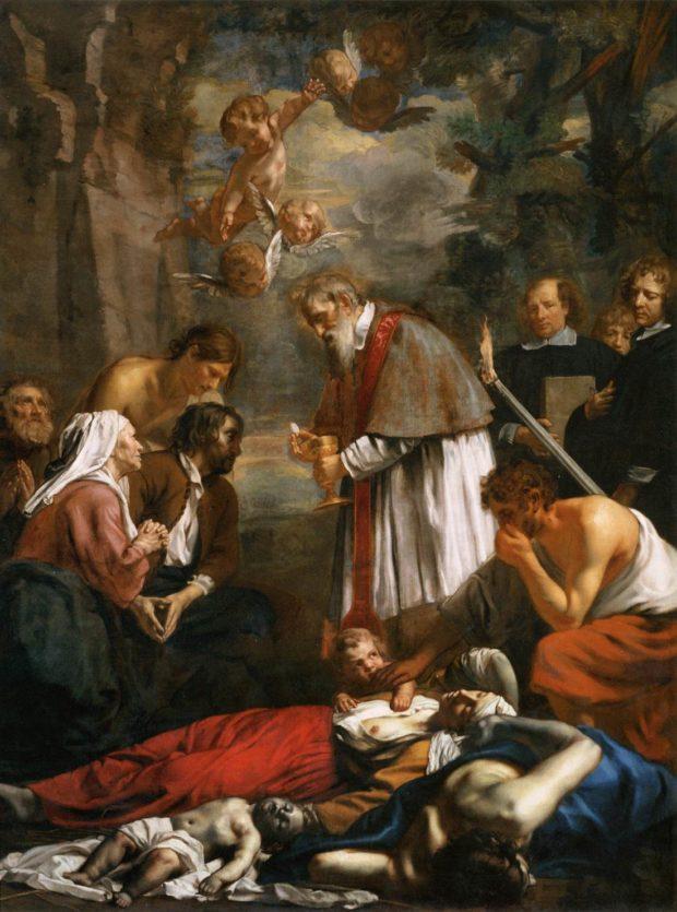 Jacob van Oost II, Saint Macaire de Gand secourant les pestiférés, 1673, Paris, musée du Louvre.
