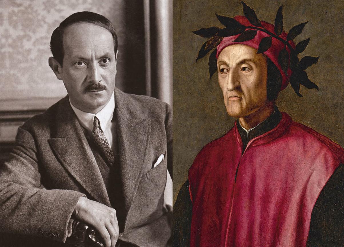 Portraits des écrivains Saint-John Perse et Dante Alighieri.