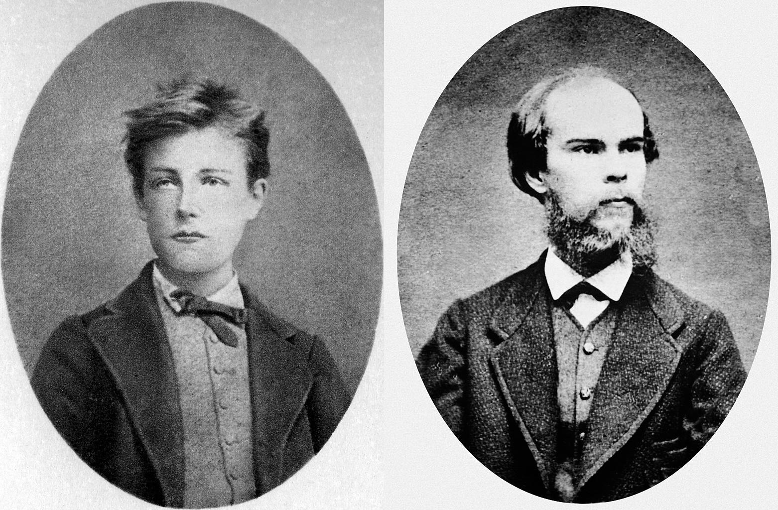 Les poètes Arthur Rimbaud et Paul Verlaine.