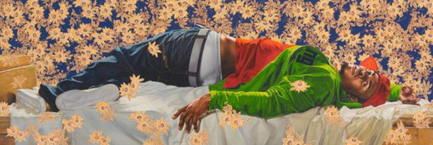 Kehinde Wiley, Femme piquée par un serpent, 2008. Huile sur toile, 259 x 762 cm.
