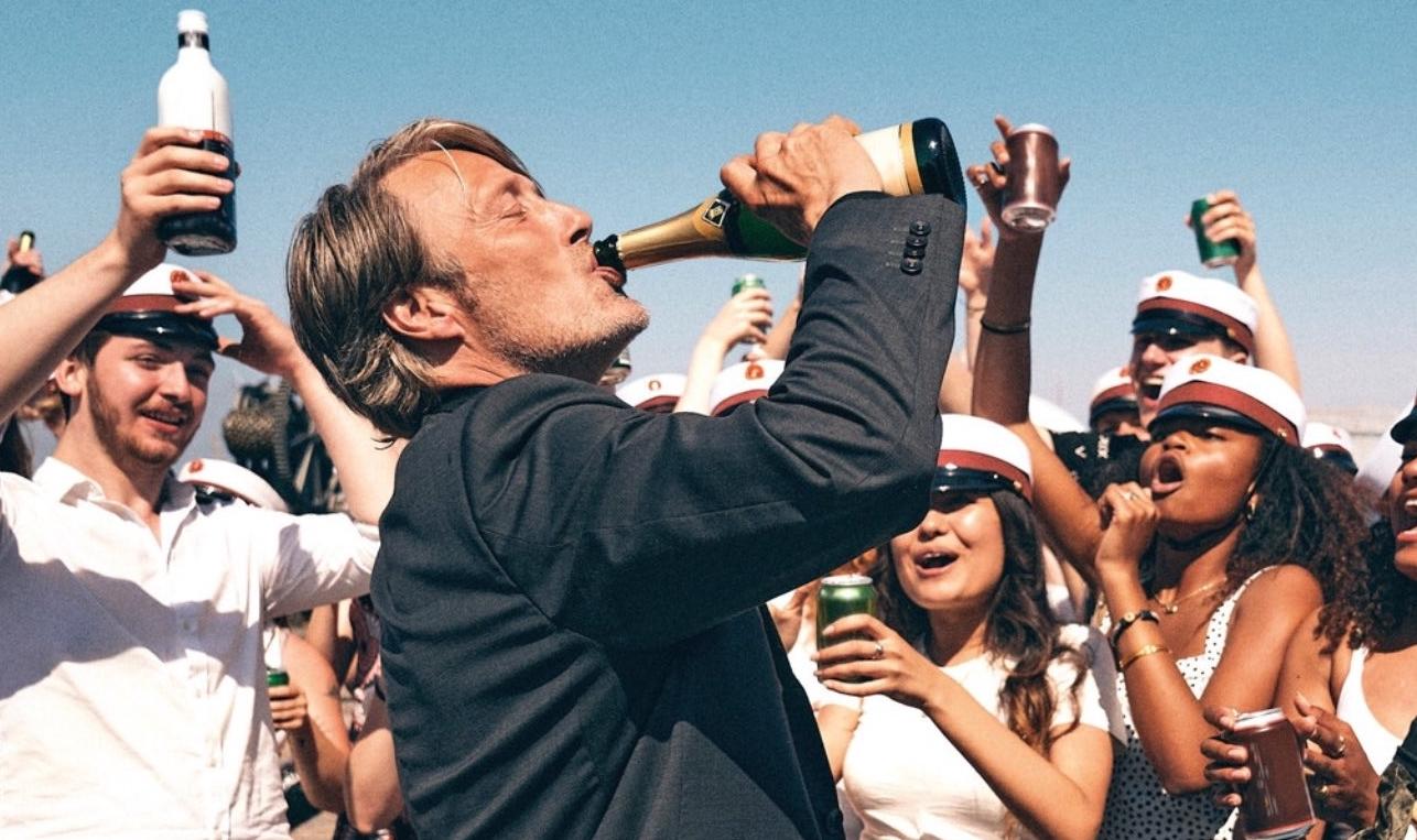 Détail de l'affiche de « Drunk », un film de Thomas Vinterberg, avec Mads Mikkelsen, Thomas Bo Larsen et Lars Ranthe.