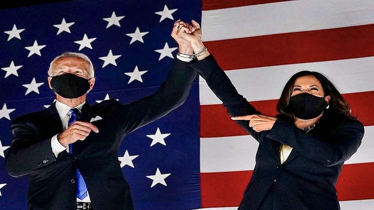 Portrait du président des Etats-Unis, Joe Bide, et de sa vice-présidente, Kamala Harris.