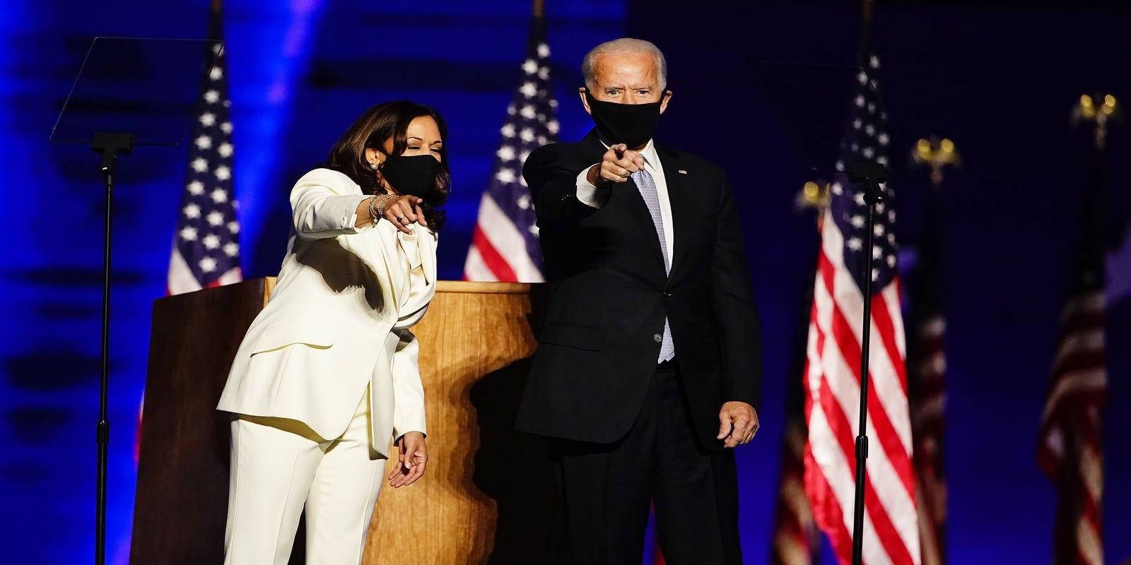 Joe Biden et Kamala Harris, respectivement les nouveaux président et vice-présidente des Etats-Unis.