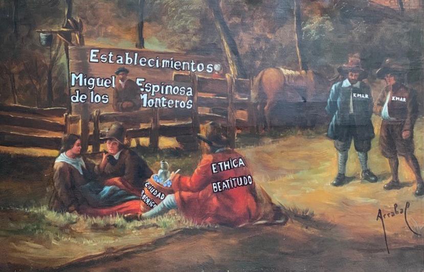 Détail d'une toile de Fernando Arrabal en hommage à Spinoza.