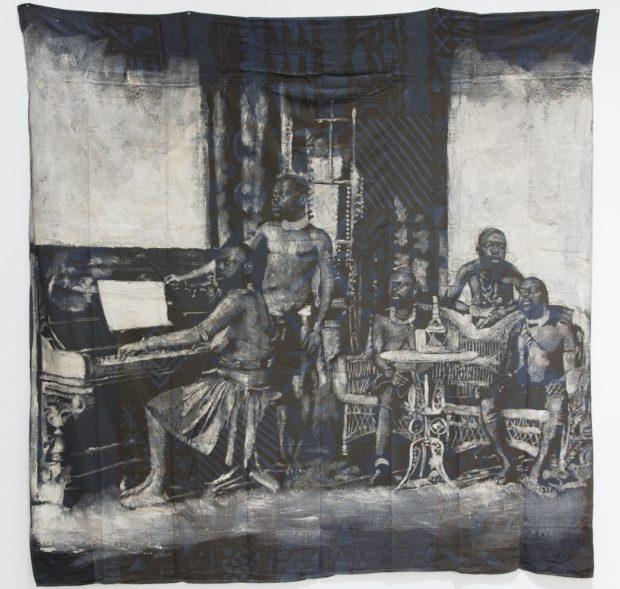 Roméo Mivekannin, Leçon de piano, Afrique du Sud, 2020. Bains d'élixir et acrylique sur toile libre, 269 x 270 cm. Courtesy galerie Eric Dupont, Paris