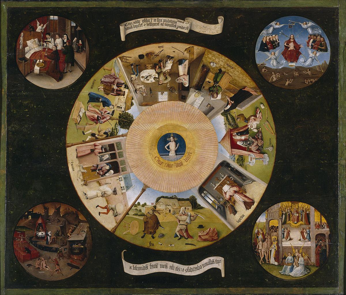 Photo du tableau «Les sept péchés capitaux» (détail) de Jérôme Bosch qui est exposé dans le Musée du Prado.
