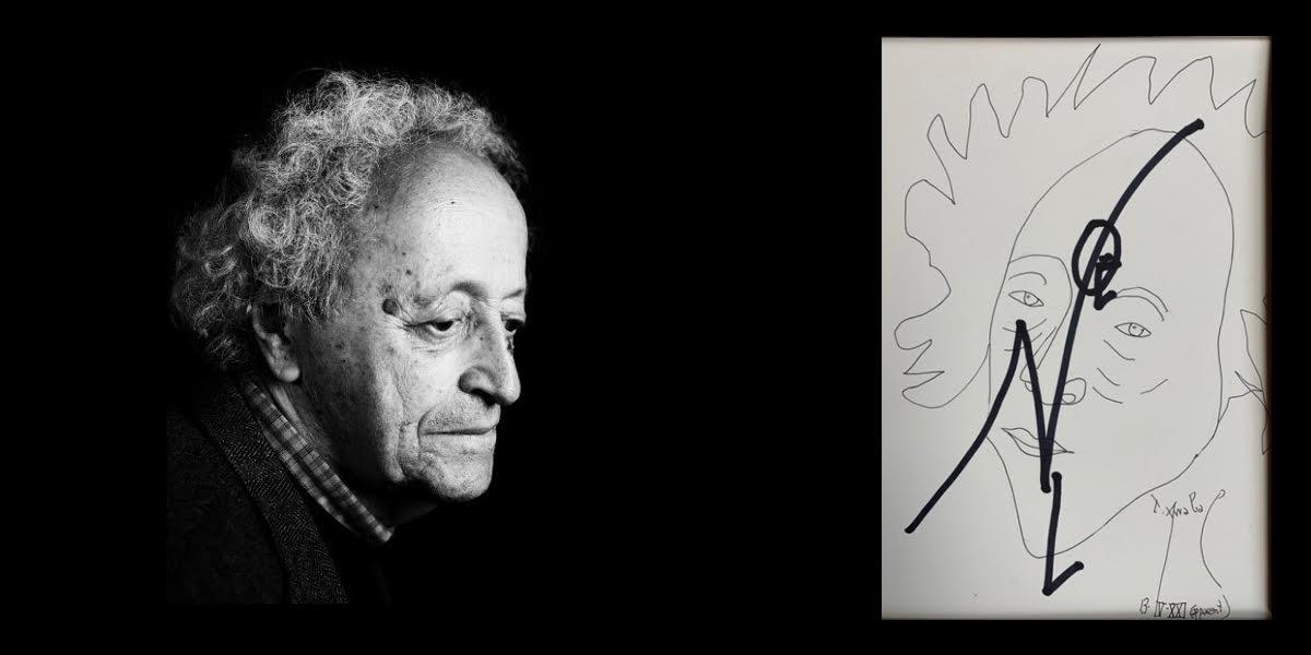 Un montage avec un portrait de Bernard Noël et un dessin-hommage de Fernando Arrabal au poète.