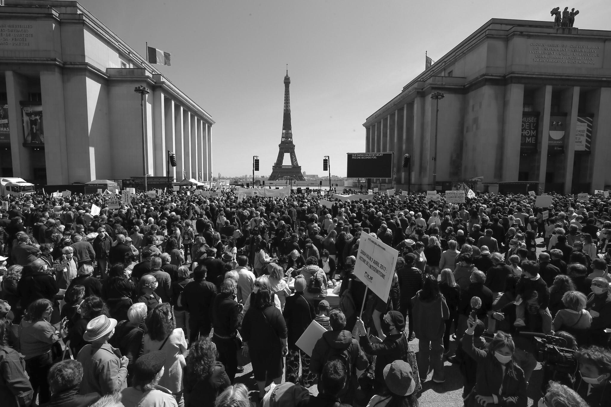 Rassemblement au Trocadéro, à Paris, pour réclamer justice pour Sarah Halimi, le dimanche 25 avril 2021.