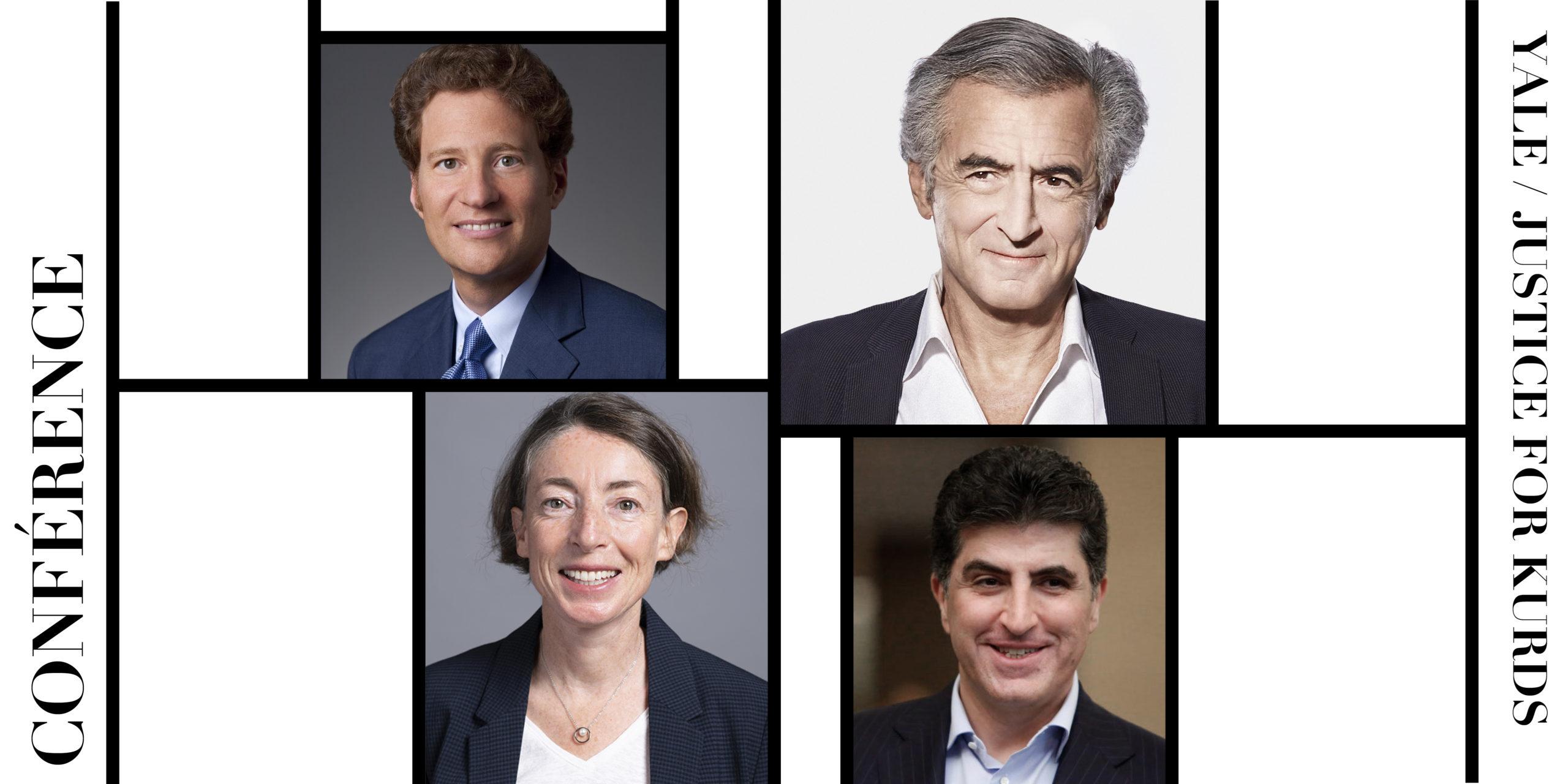 Les portraits de Les conférenciers Thomas Kaplan et Bernard-Henri Lévy, co-présidents de Justice for Kurds. La modératrice Emma Sky, de Yale University. Et le président du Kurdistan irakien Nechirvan Barzani.