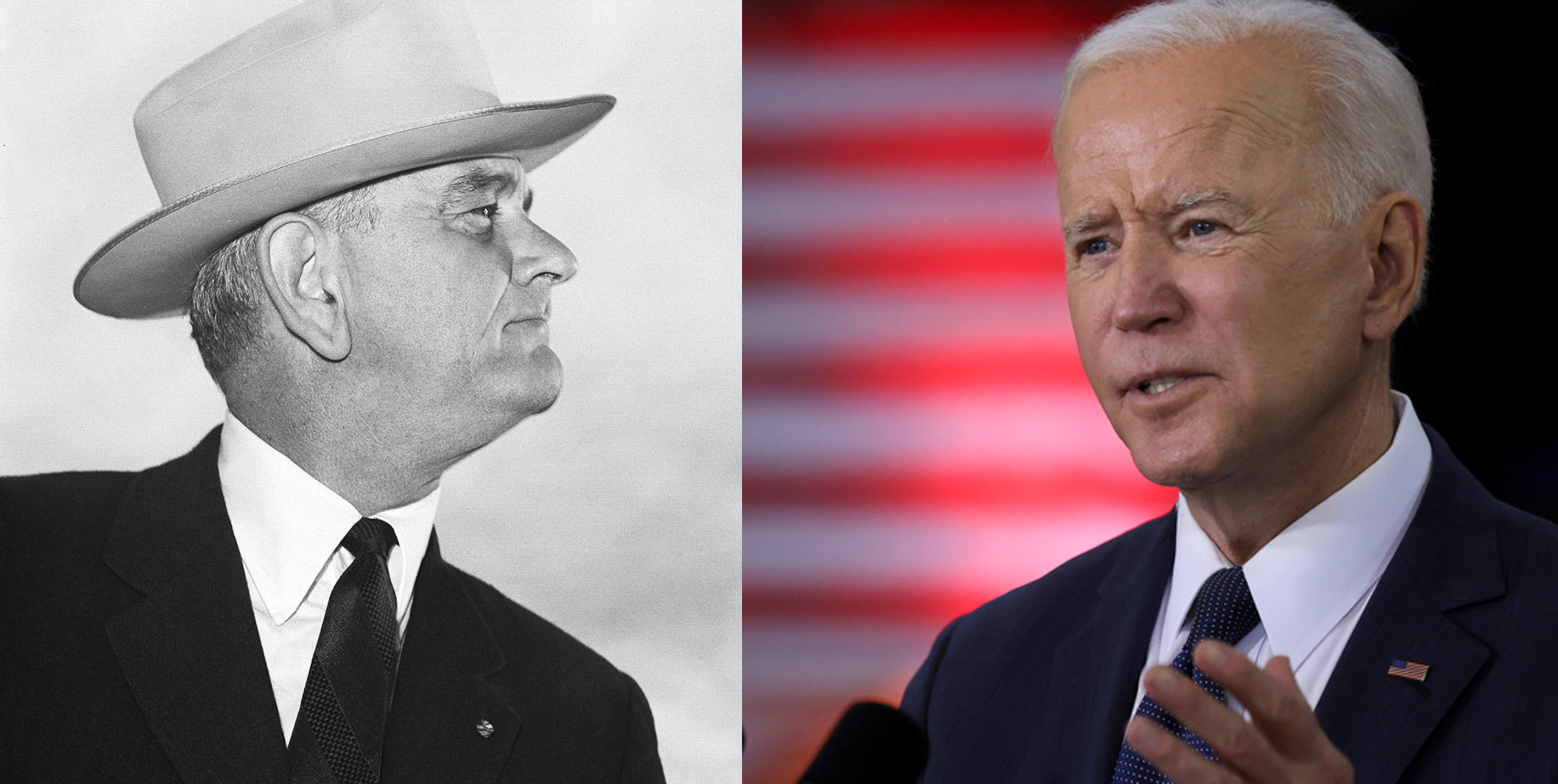 Portrait noir et blanc de Lyndon B. Jonhson et portrait couleur de Joe Biden